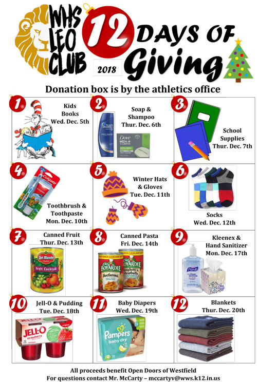 """Westfield High School LEO Club spearheads """"12 Days of Giving"""